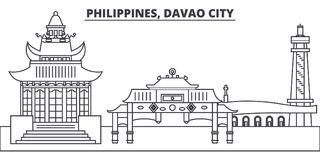 Philippines, Davao City line skyline vector illustration. Philippines, Davao City linear cityscape with famous landmarks royalty free illustration