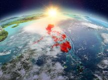Philippines de l'espace dans le lever de soleil Photo libre de droits
