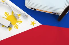 Free Philippines Flag Depicted On Table With Internet Rj45 Cable, Wireless Usb Wifi Adapter And Router. Internet Connection Concept Royalty Free Stock Photos - 165868928