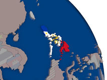 Philippines with flag on globe. Philippines with embedded national flag on globe. Highly detailed 3D illustration with accurate flag colors and country borders Royalty Free Stock Image