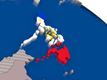 Philippines with flag. Highlighted on model of globe. 3D illustration Stock Photography