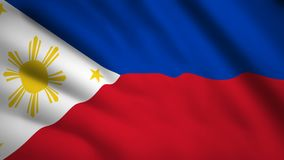 Philippines flag Motion video waving in wind. Flag Closeup 1080p HD  footage royalty free illustration