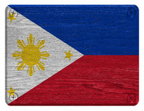Philippines flag. Painted on wooden tag royalty free stock photos