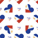 Philippines flag patriotic seamless pattern. National flag in the shape of heart. Vector illustration Royalty Free Stock Photo