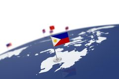 Philippines flag. Country flag with chrome flagpole on the world map with neighbors countries borders. 3d illustration rendering flag Stock Photography