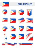 Philippines Flag Vector Set. Philippines Flag Set - Vector Illustration Stock Photography