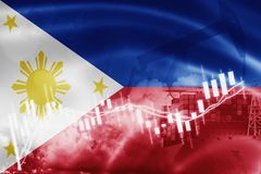 Philippines flag, stock market, exchange economy and Trade, oil production, container ship in export and import business and. Logistics, asia, asian, background royalty free illustration