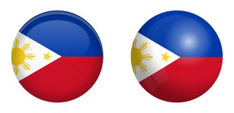 Philippines flag under 3d dome button and on glossy sphere / ball vector illustration