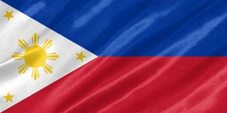 Philippines Flag. With waving on satin texture royalty free illustration