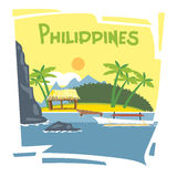 Philippines flyer. With the beach and palm trees royalty free illustration