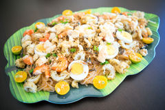 Philippines Food Pansit Palabok. Philippine Food called pancit palabok. This is a noodle dish that uses the round rice noodles, smothered with a thick golden royalty free stock photos