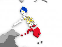 Philippines on globe with flag. Map of Philippines with embedded national flag. 3D illustration Stock Image