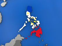 Philippines on globe. Map of Philippines with embedded national flag on globe, top-down view. 3D illustration Royalty Free Stock Photo
