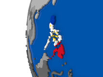 Philippines on globe. Map of Philippines with its flag on globe. 3D illustration Royalty Free Stock Images