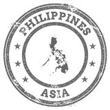 Philippines grunge rubber stamp map and text. Stock Photos