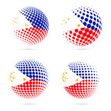 Philippines halftone flag set patriotic vector. Royalty Free Stock Photos