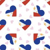 Philippines independence day seamless pattern. Patriotic background with country national flag in the shape of heart. Vector illustration Royalty Free Stock Photo