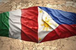 Philippines and Italy. Waving Philippine and Italian flags of the political map of the world Royalty Free Stock Photos