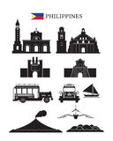 Philippines Landmarks Architecture Building Object Set. Design Elements, Black and White, Silhouette royalty free illustration