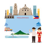 Philippines Landmarks, People in Traditional Clothing, Frame. Culture, Travel and Tourist Attraction royalty free illustration