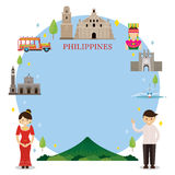 Philippines Landmarks, People in Traditional Clothing, Frame. Culture, Travel and Tourist Attraction stock illustration