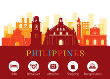 Philippines Landmarks Skyline with Accommodation Icons. Cityscape, Travel and Tourist Attraction stock illustration