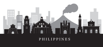 Philippines Landmarks Skyline in Black and White Silhouette stock illustration