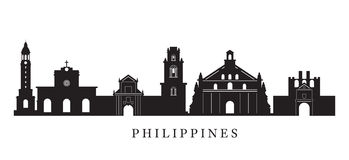 Philippines Landmarks Skyline in Black and White Silhouette royalty free illustration