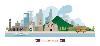 Philippines Landmarks Skyline. Cityscape, Travel and Tourist Attraction royalty free illustration