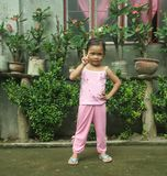 Philippines little girl posing Stock Photo
