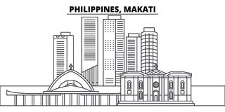 Philippines, Makati line skyline vector illustration. Philippines, Makati linear cityscape with famous landmarks, city. Sights, vector design landscape royalty free illustration