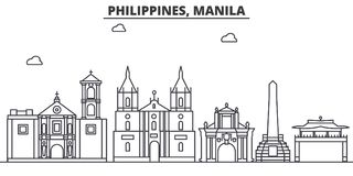 Philippines, Manila architecture line skyline illustration. Linear vector cityscape with famous landmarks, city sights royalty free illustration