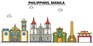 Philippines, Manila. City skyline architecture . Editable. Philippines, Manila. City skyline architecture, buildings, streets, silhouette, landscape, panorama royalty free illustration