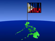 Philippines with Manila flag. Map of Philippines with position of Manila marked by pole illustration Stock Image