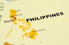 Philippines on map. Close up of Manila, Philippines on map Stock Photography
