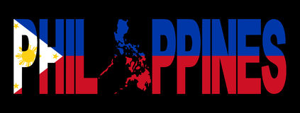 Philippines with map on flag. Philippines text with map on flag illustration Stock Images