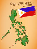 Philippines Map and National Flag Vector Stock Photos