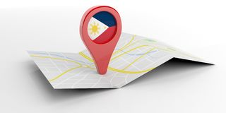 Philippines map pointer on white background. 3d illustration Royalty Free Stock Image