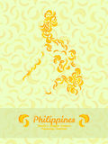 Philippines map poster or card. Banana illustration. Vegetarian postcard. Stock Photo