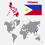 Philippines map on a world map with flag and map pointer. Vector illustration Royalty Free Stock Photos