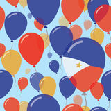 Philippines National Day Flat Seamless Pattern. Flying Celebration Balloons in Colors of Filipino Flag. Happy Independence Day Background with Flags and Royalty Free Stock Photo