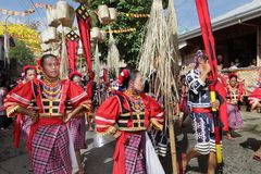Philippines parading tribal street dancers stock photo