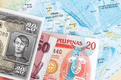 Philippines and  peso. Abstract - map of the Philippines with peso currency Stock Photos
