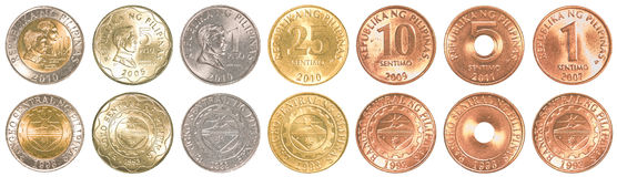 Philippines peso coins collection set. Isolated on white background Royalty Free Stock Image