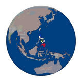 Philippines on political globe. Philippines with embedded national flag on political globe. 3D illustration isolated on white background Stock Image