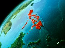 Philippines from space in evening. Evening over Philippines as seen from space on planet Earth. 3D illustration. Elements of this image furnished by NASA Stock Image