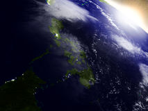 Philippines from space during sunrise Royalty Free Stock Image