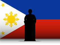 Philippines  Speech Tribune Silhouette with Flag B. Vector - Philippines  Speech Tribune Silhouette with Flag Background Royalty Free Stock Photo