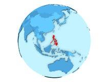 Philippines sur le globe bleu d'isolement Photo stock