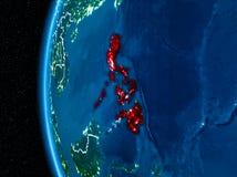 Philippines sur terre la nuit Photographie stock libre de droits